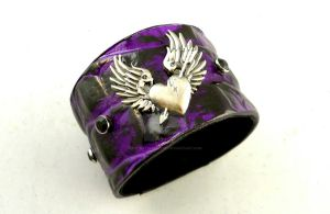 Purple Black Broken Heart Leather Cuff Bracelet by StorytellerZero
