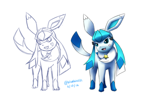 Pokemon OC: Bluekiss Sketch and Final by BluuKiss