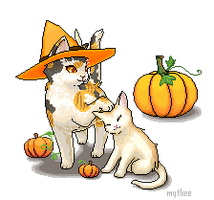 Nyagamoras in the pixel pumpkin patch by Mythee