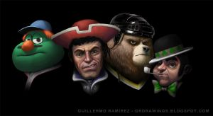 Boston Sports Mascots - commission by GuillermoRamirez