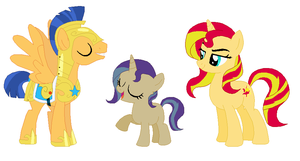Flash Sentry, Moonlit Midnight, and Sunset Shimmer by srbarker