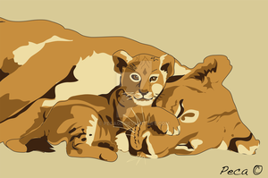 Lioness and Cub by peca06