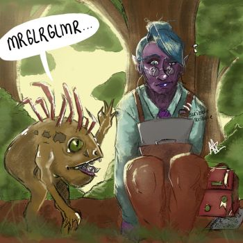 Night Elf and Murloc by silver1ining