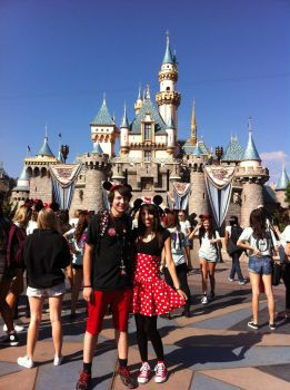 Mickey and Minnie at disneyland by kittycatalice