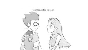 Teaching Star to Read by RedUmbrellaMonster