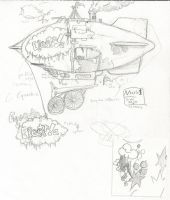 MLP Steampunk- Airship Concept Art by AdamsSketches