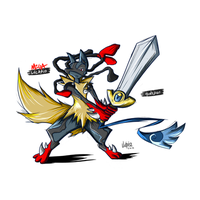 Mega Lucario + Honedge by jupio