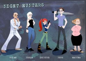 Night Hunters character designs by Endless-Ness
