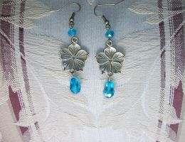 Antique Bronze Flower Earrings with Blue Rondelle by KiriRamdeo