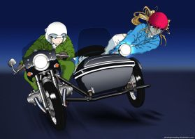 Riding with K1 and Belldandy by pinakaguwaping
