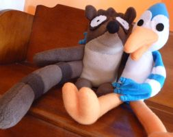 Mordecai and Rigby Plushies by greenchylde