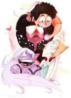 Garnet, Amethyst, and Pearl-- AND STEVEN! by CountANDRA