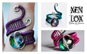 Adjustable Colored Dragon's Eye Rings by XenOhm
