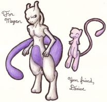 Mew and Mewtwo for Megan by ritabuuk
