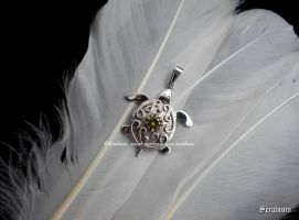 'Little turtle', handmade sterling silver pendant by seralune