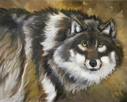 Autumn Timber Wolf by HouseofChabrier