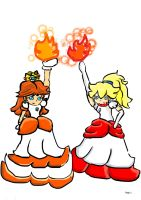 Fire Peach and Fire Daisy by Blue-Rebelle