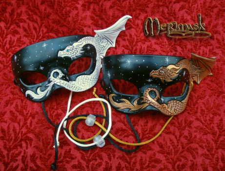 Two Small Leather Dragon Masks by merimask