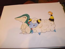 Mareep and Cyndaquil by squishy-jelly-apple
