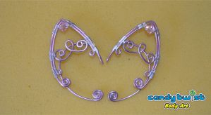Pink Aluminium Elf Ears with Swarofski Crystals by Dabstar