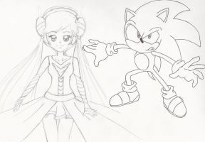 Sonic and my random character by Snivy94