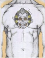 Greaser Skull tattoo flash by chrisjamesart