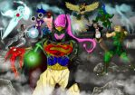 Majin Buu VS The Justice League by DamionPheonix