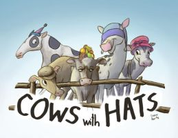 Cows with Hats by Di---Chan