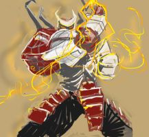 Fire throwing Samurai robot. by nutsaqz