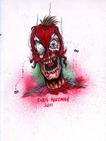 Zombie Spiderman Headshot by chris-foreman
