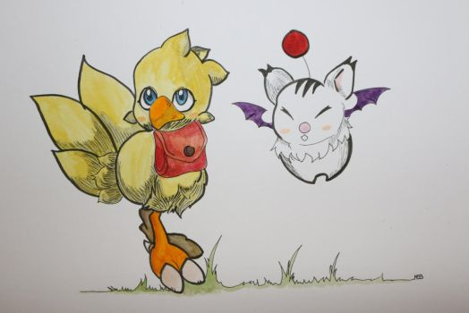 Chocobo and moogle by HytomiChan