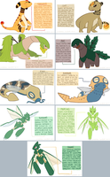ampharos, tropius, dunsparce, scyther subspecies by fishervk