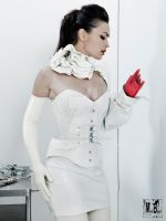 white vinyl overbust corset by AtelierSylpheCorsets