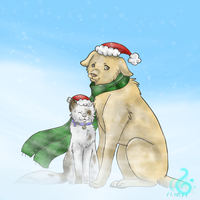 Christmas Dog and Cat by Eevee-123