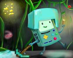 BMO where he belongs (not really lol) by RainbowCraft33