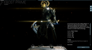 Frost Prime (codex screenshot) by Ask-Fangthevampire
