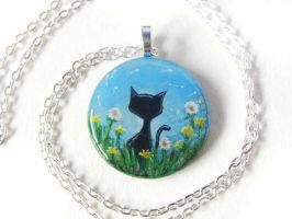Black Cat Dandelion Pendant Necklace by sobeyondthis