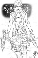 Resident Evil Line Drawing by Beth-Gilbert