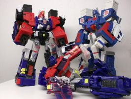 Ultra Magnus taking Secret briefcase from Optimus by forever-at-peace