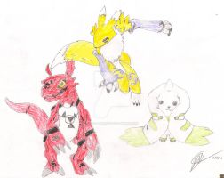 Renamon, Guilmon and Terriermon by Digi-Lover517