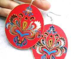 Big Polish Etno Pattern Earrings by Eibhlin-san
