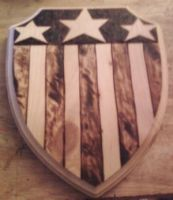 Captain America Woodburned shield by cutiechibi