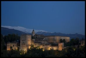 The Alhambra, by night... by Flo0orian