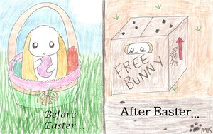 Before and After Easter Rabbit by fangs211