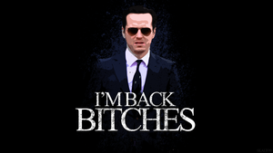 Jim Moriarty I'M BACK BITCHES Desktop Background by skauf99