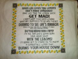 Portal 2 Lemon Rant Cross Stitch by BenWermers