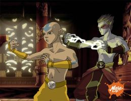 Aang and Zuko by mase0ne