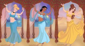 Cinderella, Tiana and Belle as Belly Dancers by sun711