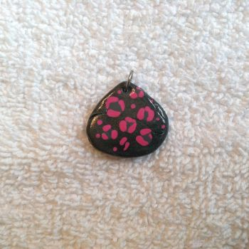 Wide metallic Faux Stone w/ Pink Leopard Print by Gold-Heart-Clay
