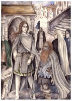 Legolas and Gimli in Minas Tirith by peet